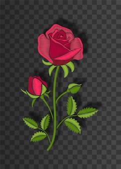 ステッチローズと花のステッチ飾り。影付きの透明な背景に刺繍の花。