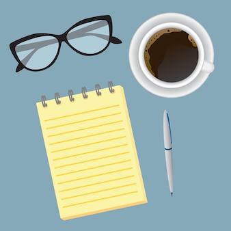 トップビューの創造的なビジネスデスクトップ。勤務日の開始時のオフィス従業員のワークスペース。