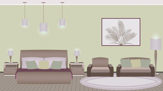 Классический стиль интерьера спальни отеля с мебелью