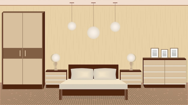 Изящный интерьер спальни в теплых тонах с мебелью, светильниками, фоторамками