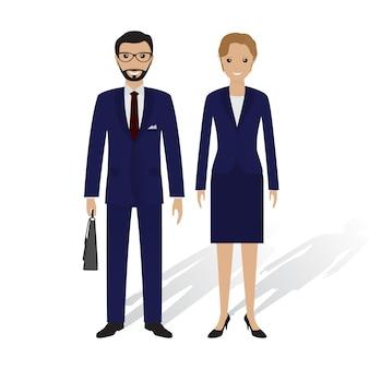 Деловые люди мужского и женского пола. офисные работники мужчина и женщина, стоя вместе. бизнес концепция совместной работы.