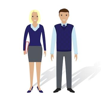 Деловые люди мужчина и женщина. офисные работники мужчина и женщина, стоя вместе. бизнес концепция совместной работы.