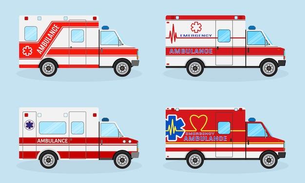 Набор из четырех автомобилей скорой помощи с красными цветами. автомобиль скорой помощи, вид сбоку. автомобиль скорой медицинской помощи.