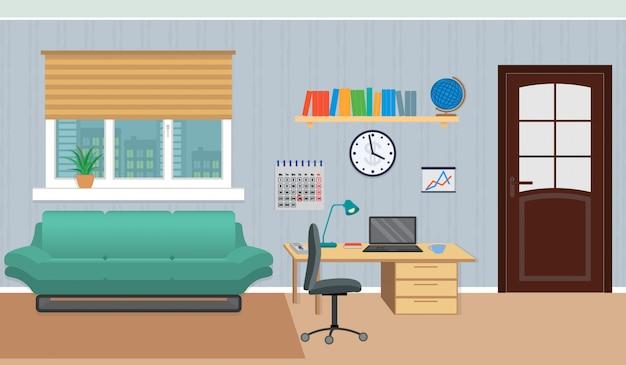 Интерьер рабочего кабинета дома, включая зону отдыха и рабочее место.
