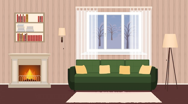暖炉、ソファ、ランプ、本棚とリビングルームのインテリア。燃える火と窓と国内の部屋のデザイン。