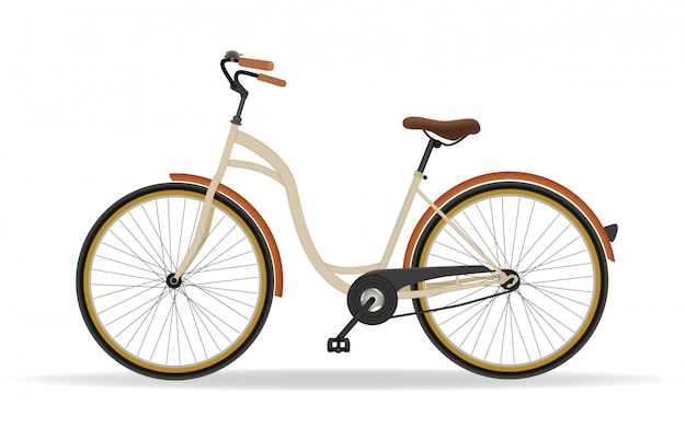 Винтажный велосипед изолированный на белой предпосылке. фитнес и концепция спортивной деятельности. вектор