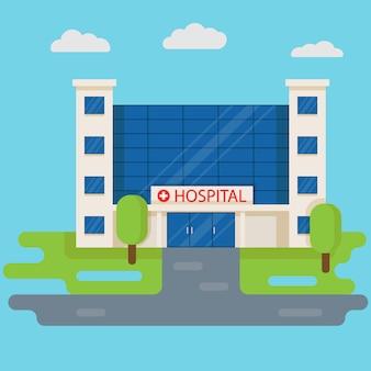Здание больницы с машиной скорой помощи. медицинская концепция. дизайн фронта клиники медицины изолированный на голубой предпосылке. векторная иллюстрация в плоском стиле.