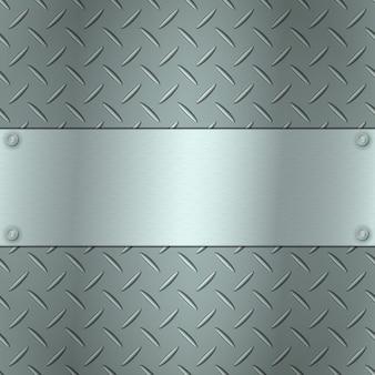 Металлический фон с текстурой пластины протектора и стальной текстурированной пластиной для вашего текста.