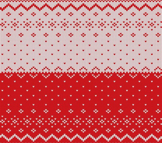 ニットクリスマスデザイン。クリスマスのシームレスなパターン赤背景。ニットの冬のセーターのテクスチャ。