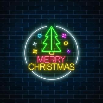サークルフレームでクリスマスツリーと輝くネオンクリスマスサイン。