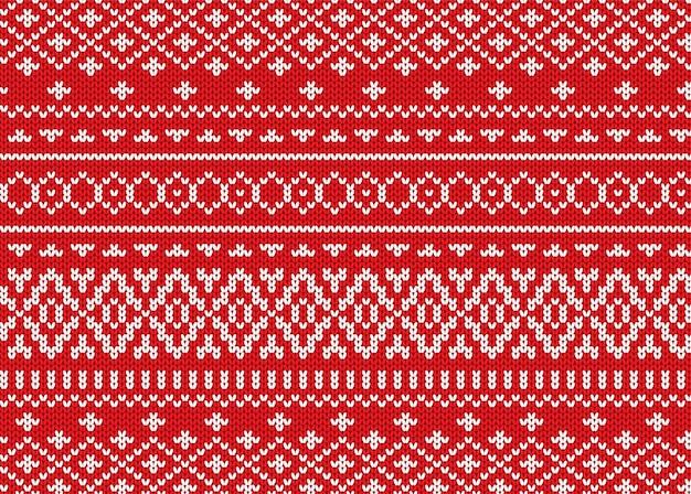 幾何学的な装飾デザインを編みます。クリスマスのシームレスなパターン。