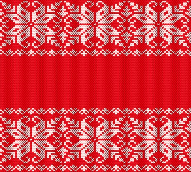 ニットクリスマスの幾何学的な装飾デザイン。クリスマスのシームレスなパターン赤背景。ニットの冬のセーターのテクスチャ。