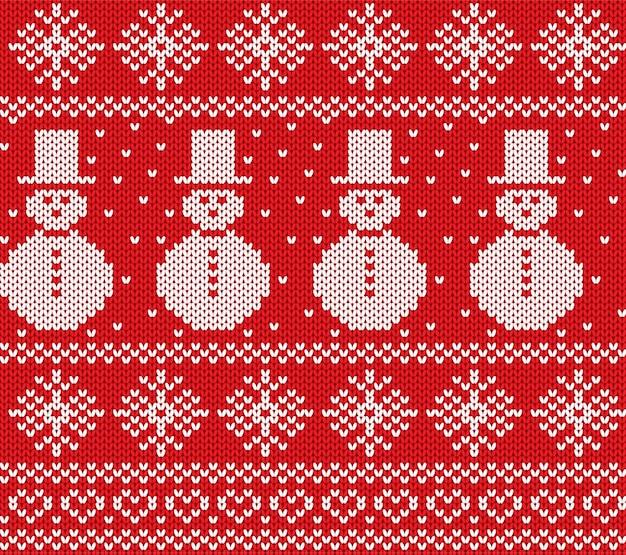 雪だるまと雪の結晶のクリスマスを編みます。幾何学的なニットのシームレスパターン。