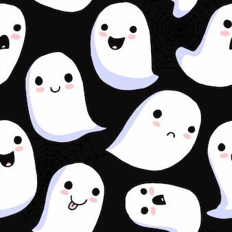 ハロウィーンのシームレスなパターン。漫画かわいい怖い幽霊。不気味なキャラクター