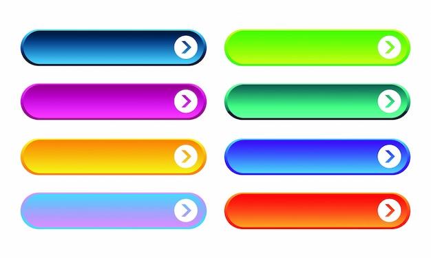 Набор цветных градиента веб-кнопок на белом фоне. веб-элементы.