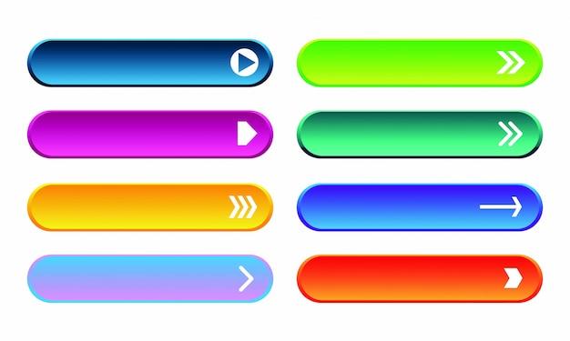 Набор современных кнопок градиента для веб-сайта и пользовательского интерфейса.