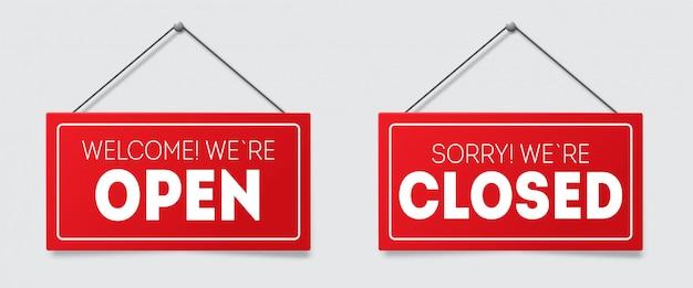 Реалистичный красный знак извините, мы закрыты и добро пожаловать, мы открыты с тенью