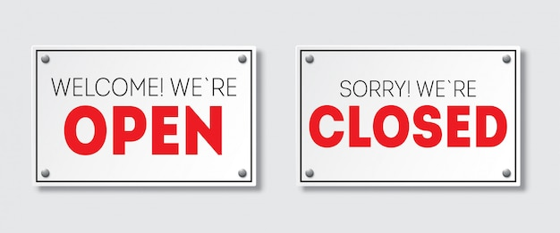Реалистичная дверь знак с тенью. извините, мы закрыты. добро пожаловать, мы открыты