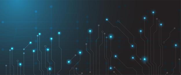 ラインとドットで将来の技術の背景。現代のハイテクデジタル技術コンセプト。抽象的なインターネット通信