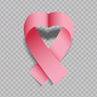透明な背景に分離された現実的なピンクハート形リボン。乳がん啓発のシンボル。