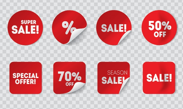 透明な背景に分離された影付きの現実的な販売の赤いステッカー。接着剤付きの丸型および角型の値札またはラベルと割引および特別オファー