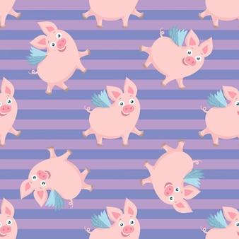 かわいい飛ぶ豚のシームレスなパターン。カラフルな背景