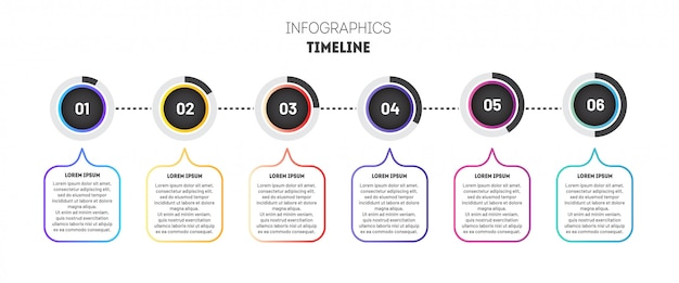 グラデーションの円でビジネスインフォグラフィックテンプレート。