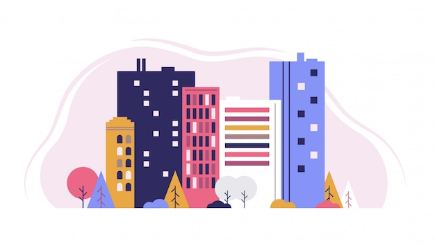 Городской пейзаж с большими и маленькими зданиями и деревьями и кустарниками. плоский дизайн стиль вектор графическая иллюстрация