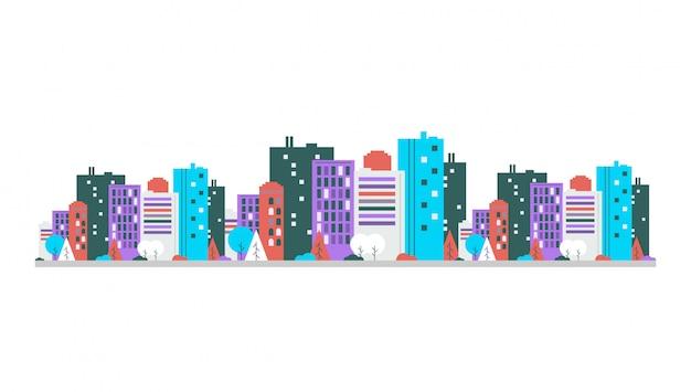 Городской пейзаж панорамный вид. недвижимость вектор шаблон.