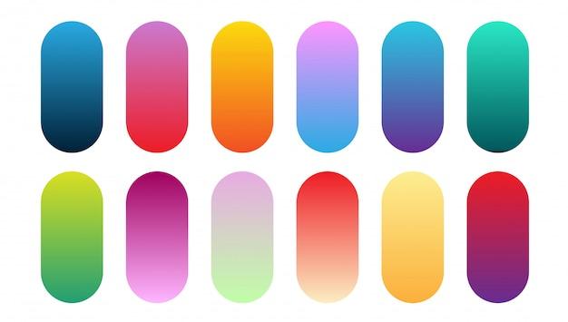美しいグラデーションコレクション。多色緑紫黄色オレンジピンクシアンサークルグラデーション、カラフルな柔らかい丸いボタンベクトルセット