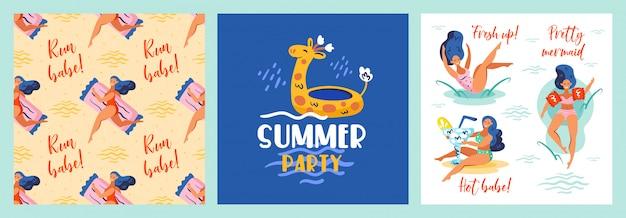 Беги, детка. освежиться. милая русалка горячая красотка резиновый жираф. летняя приморская пляжная вечеринка у бассейна. жаркая погода, праздники, набор открыток.