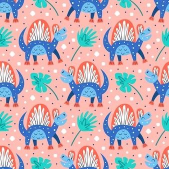 小さなかわいい青い恐竜とヤシの葉。フラット漫画カラフルな手描きのシームレスパターン