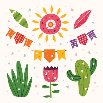 メキシコのクリップアート。かわいい太陽、旗、サボテン、草、花、葉。メキシコのパーティー。ラテンアメリカの休日。フラットカラフルなイラスト、分離された要素のセット