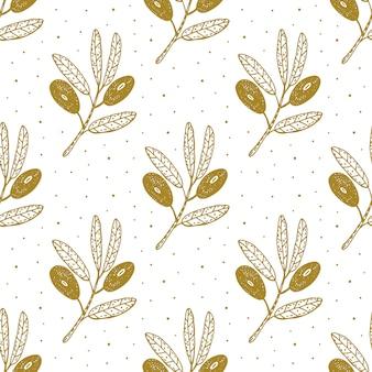 オリーブの実、枝手描きのシームレスなパターン、背景、テクスチャ。