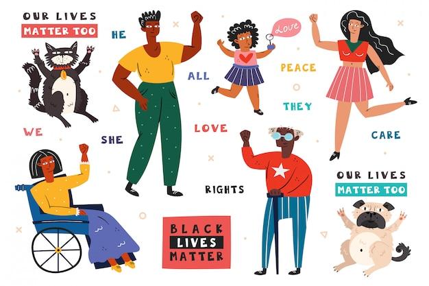 Все жизни имеют значение. разные расы людей с поднятыми руками. мужчина, женщина, ребенок, инвалид. темная, светлая кожа. нет расизма. активная социальная позиция. права животных. плоский рисунок, значок, стикер.