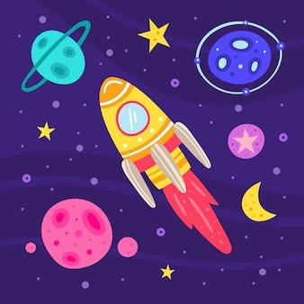 スペースフラットイラスト、一連の要素、ステッカー、アイコン。ロケット、宇宙船、惑星、小惑星、星、月、銀河、科学。未来的。コスモスカード。背景に分離されました。
