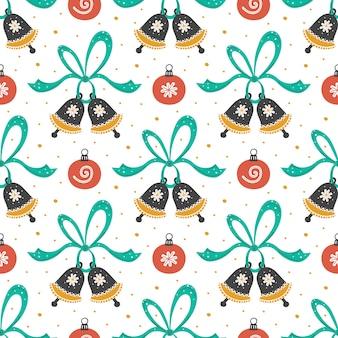 クリスマス新年のシームレスなパターン。手描きのリボンとクリスマスツリーのおもちゃの背景を持つフラットジングルベル。紙、布の背景。