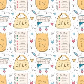ショッピング手描き落書きのシームレスなパターン。白い背景で隔離されました。チェックリスト、エコパック、紙袋、トロリー、セール。