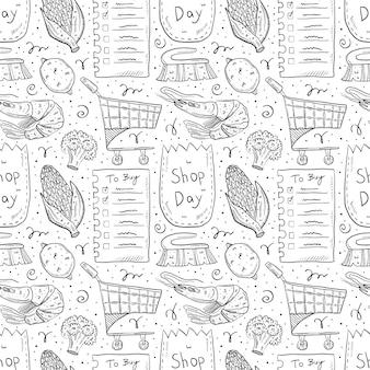 ショッピング手描き落書きのシームレスなパターン。白い背景で隔離されました。チェックリスト、トウモロコシ、エコパック、紙袋、トロリー、ブロッコリー、レモン、ブラシ、エビ。