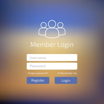 Вход пользователя в синий пользовательский интерфейс. войдите в окно шаблона веб-элемента.