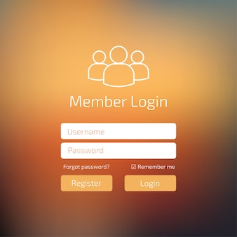 Вход пользователя в персиковый цвет пользовательского интерфейса. войдите в окно шаблона веб-элемента.