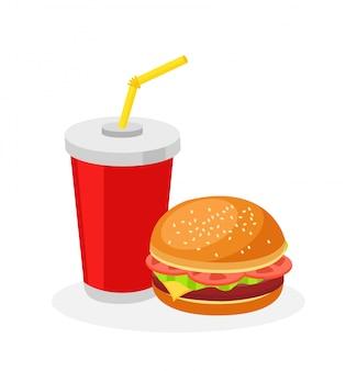 Фаст-фуд меню обеда гамбургер и содовая квартира дизайн