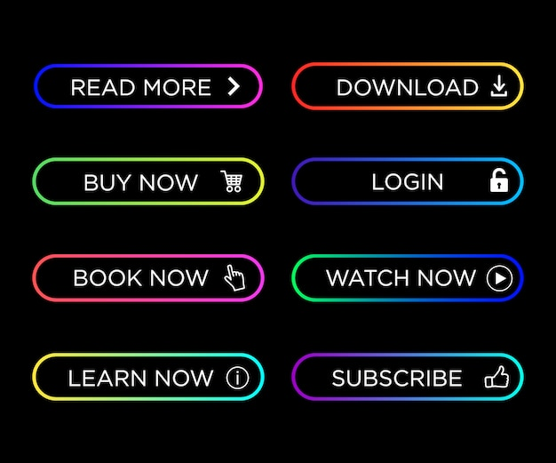 Набор современных действий кнопки красочные для инфографики, веб-сайт, мобильное приложение. кнопки навигации с градиентным цветом. иллюстрация значка кнопки