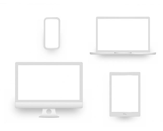 Белый экран дисплея компьютера, планшетный ноутбук, ноутбук, смартфон или ноутбук.