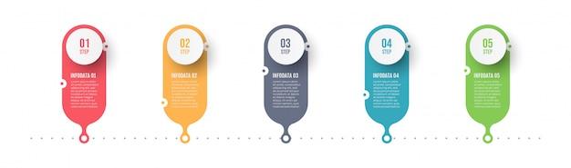 Инфографики шаблон с пятью шагами