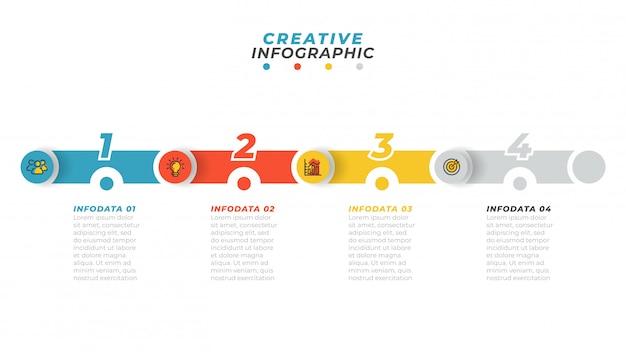 Бизнес-процесс. временная шкала инфографики с маркетингом значок и шаг, вариант, расположение цифр