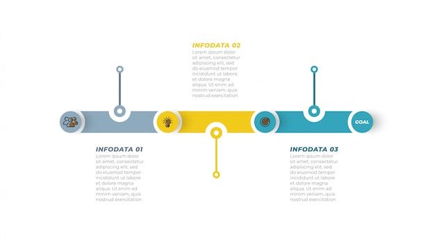 ビジネスプロセス。マーケティングアイコンとステップ、オプションのタイムラインインフォグラフィック。