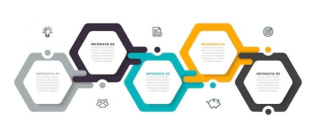 Инфографики шаблон с пятью современными шестиугольниками макет шагов.