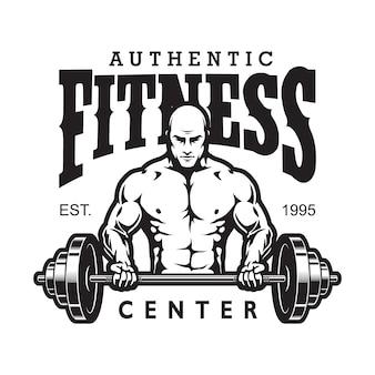 Винтажный тренажерный зал и фитнес-логотип