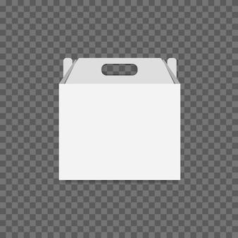 透明な背景に白い段ボールのランチボックスのベクトル。